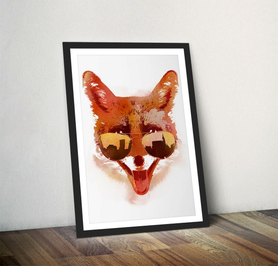 Fox Art Print City Fox Wall Art Cool Aviator Shades Red Fox