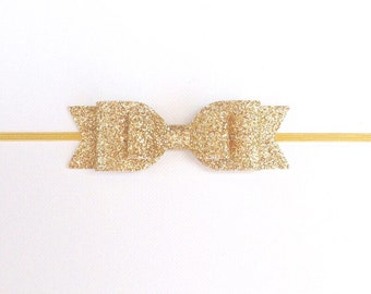 Gold Glitter Double Bow Headband | Double Gold Glitter Bow | Fancy Gold Baby Headband | Gold Glitter Bow Headband | Baby Girl Headband
