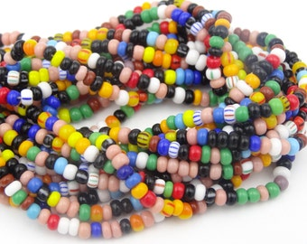 8/0 Opaque and Stripe Mix Seed Bead  6 Strand Hank