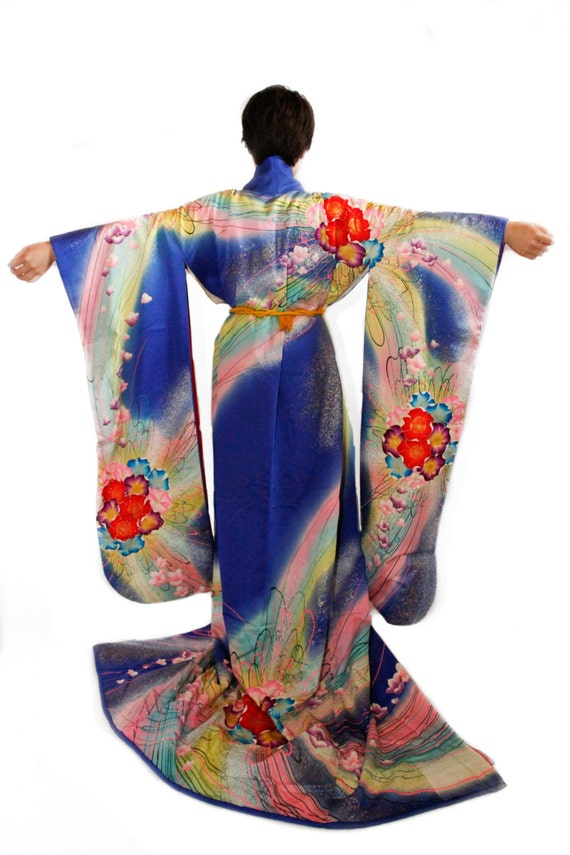 Wedding Kimono Vintage Japanese Royal Blue Robe,Kimono Wedding ...