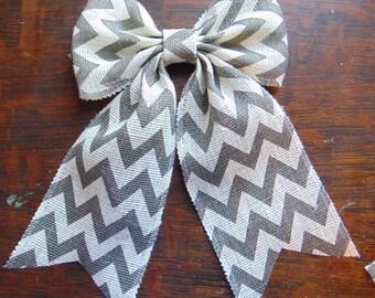 White and Gray Chevron Burlap Bow!!