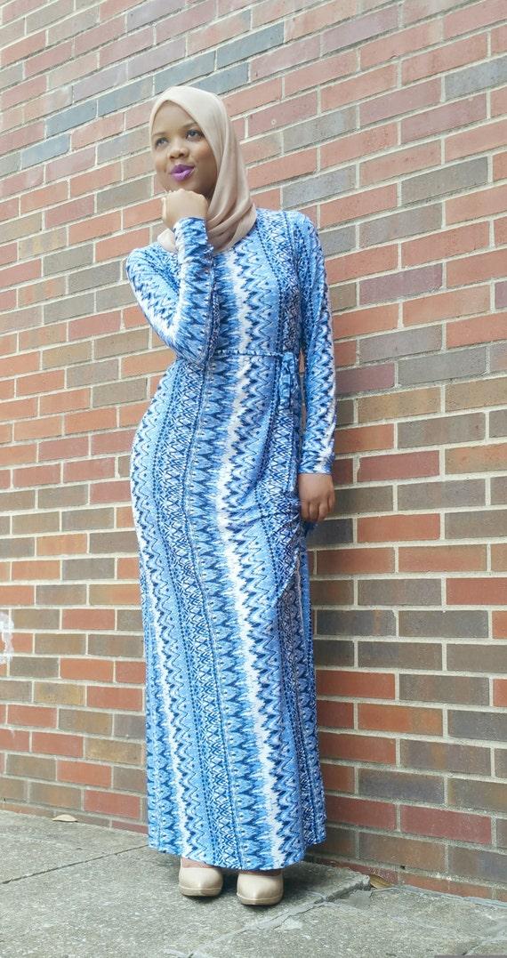 Najma Maxi Dress (blue and white)