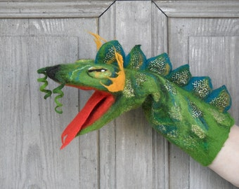 Hand puppet Green Dragon, felted toy for children's theater,  Muppet style creative play, nursery toy, eco-friendly, OOAK