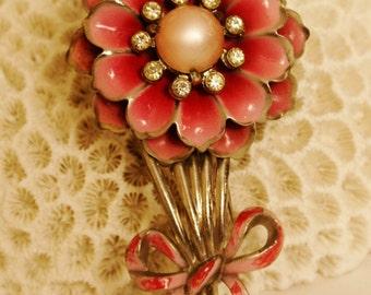 """Vintage Metal Flower w/Pink Moonstone Center Clip/ 3 1/4"""" Long"""