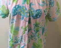 Exotic Floral Snap Down Front House Dress/ Robe by Gaymode Ladies Size Small