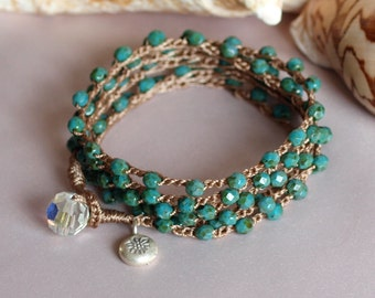 Beaded Crochet Jewelry, Turquoise Crochet Wrap, Beaded Crochet Bracelet, Crocheted Necklace, Crocheted Anklet , Boho Crochet Wrap