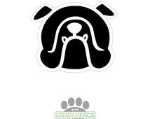English bulldog sticker - in classic and bold black and white or other color options - Bully breed bias #bullylove