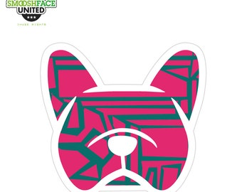 French bulldog sticker - Frenchie car decal  - pink zig zag pattern or other options - #frenchielove