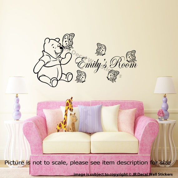 Personalized name classic winnie the pooh wall stickers for Classic winnie the pooh wall mural