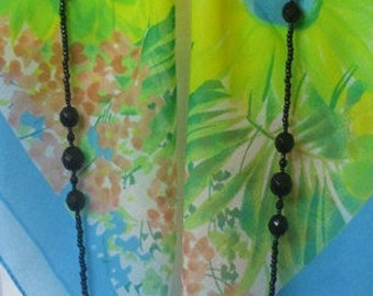 Extra Long Black Crystal Rope Necklace as Seen on TV  -- Can Be Worn Long, Doubled, or Tripled