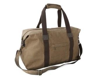 Men's Khaki Canvas Weekender Bag