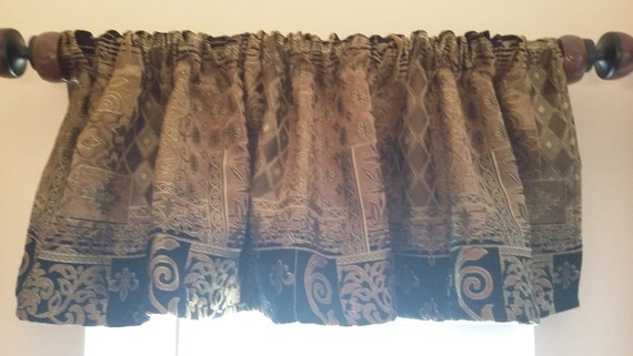 Items Similar To Black And Gold Valance Masculine Window