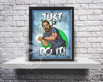 Shia LaBeouf Motivational poster just do it funny Print poster choose Size and Frame