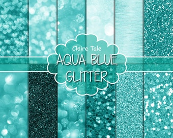 "Aqua cyan digital paper: ""AQUA BOKEH & GLITTER"" with cyan aqua blue/green glitter and bokeh background for photographers and scrapbooking"