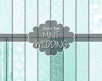 Mint wedding paper, Mint digital paper, Mint printable background, Mint wedding printable invitation paper, Mint scrapbooking cards paper