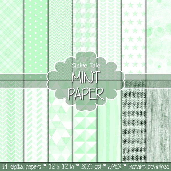 Mint digital patterns, Mint printable invitation paper, Mint party digital background, Digital mint scrapbook paper, Mint scrapbook pattern
