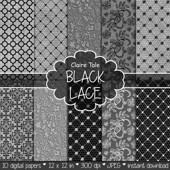 Black lace digital paper, Black lace scrapbooking, Black lace background, Black wedding lace, Digital lace paper, Black lace digital pattern