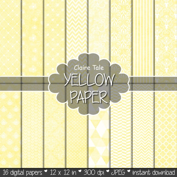 Yellow digital patterns: YELLOW PAPER with chevron, lace, stripe, quatrefoil, flowers, hearts, polka dots, damask / yellow backgrounds