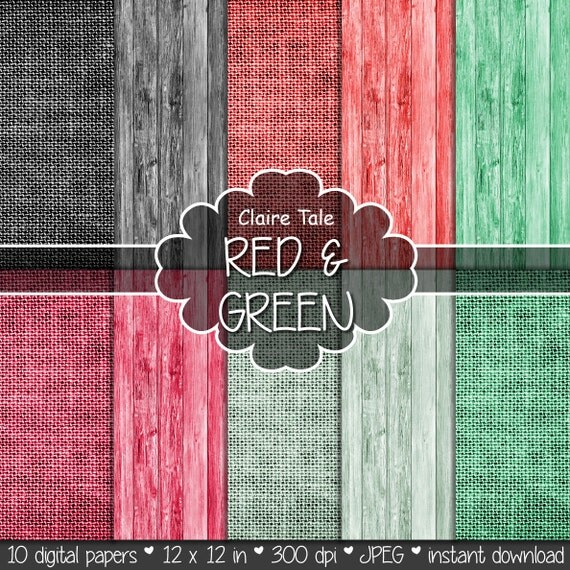 "Linen and wood digital paper: ""Red & green LINEN AND WOOD"" with wood and linen background texture in red, green, mint, crimson, black"