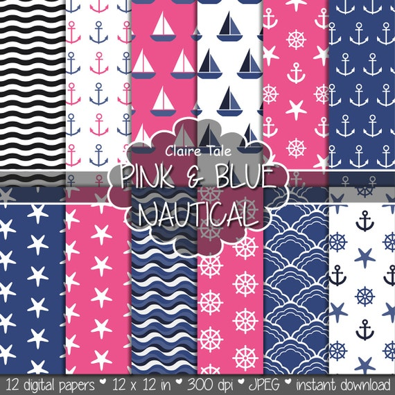 """Nautical digital paper: """"PINK & BLUE NAUTICAL"""" patterns with anchors, wheels, starfish, boats, waves, stripes in pink and blue"""