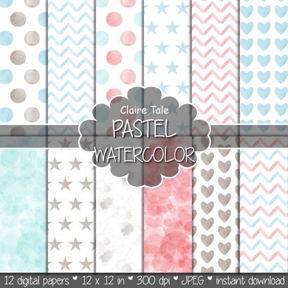 "Watercolor digital paper: ""PASTEL WATERCOLOR"" with watercolor/watercolour polka dots, stars, hearts, splash, chevron in pastel red and blue"