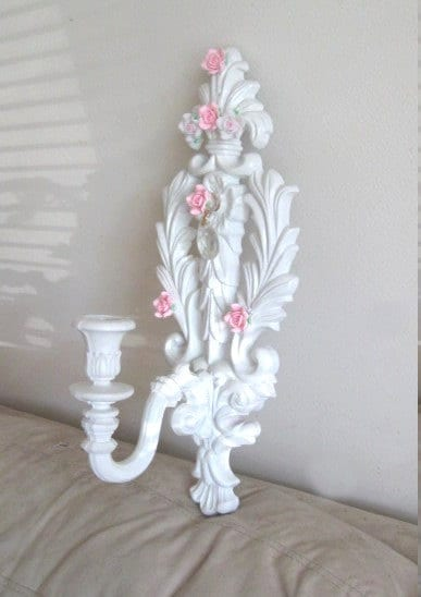 Fleur de Lis Wall Candle Sconce Chic White Shabby Pink Roses