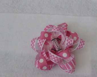 Pink Ribbon Hair Bow with Crayon Accent