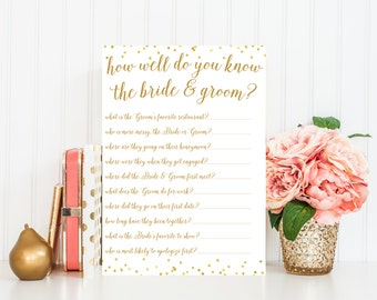 How Well Do You Know The Bride and Groom, Bridal Shower Games,  Gold Bridal Shower Game Printable, Bridal Shower Printables  BRS1