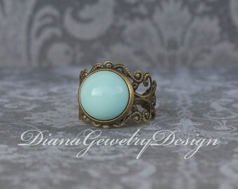 Mint ring, vintage glass ring, mint green, ring, filigree, adjustable ring