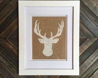 Burlap Print   Deer Bust Print   Custom Made to Order   Wall Decor   Holiday Decor