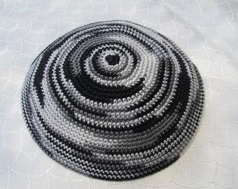 Gray shades Kippah. Handmade Crochet Kippah. Hand knitting Yarmulke. Cotton Yarn. For everyday use or holidays and Shabbat. Delicate Kippah