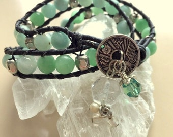 Light Spring Green Agate and Brown Leather Wrap Bracelet With Charms - Gaia Earth Green Wrap Bracelet