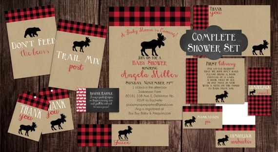 Printable Lumberjack Baby Shower, Baby Shower Invitation ...