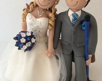 DEPOSIT-Custom Wedding Cake Topper, Hockey Player Bride and Groom, Hockey Skates,Polymer Clay, Cake Topper