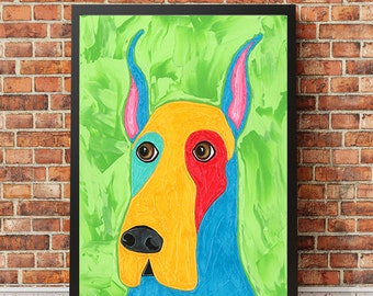 Colorful Great Dane Art - Dog Print From Original Textured Painting -