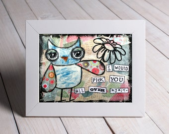 Owl Wall Art - Mixed Media Print - Sweet Gift For Mothers Day - Print From Original Artwork - Romantic Gift