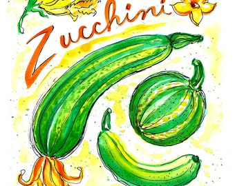 Zucchini Squash Art Print, 8 x 10, Illustration, Watercolor, Vegetables, Kitchen Art, Hand Lettering