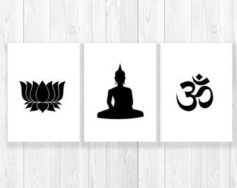 SALE Yoga Prints SET of 3, Om Lotus Buddha, gift for her, yoga teacher gift, friend, gift for yogi, chakra gift, pilates gift, personalized