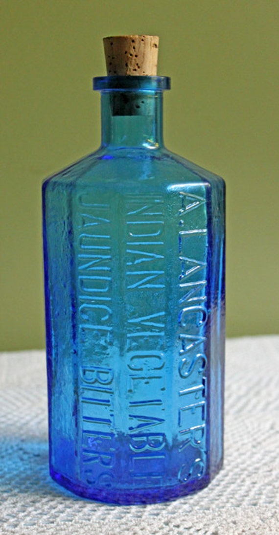 Antique Blue Bottle With Cork Bottle With Embossed Colonel