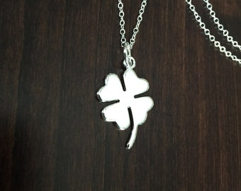 Clover Necklace, silver clover necklace, clover pendant, clover jewelry, clover, necklace, four leaf clover, silver necklace, jewellery