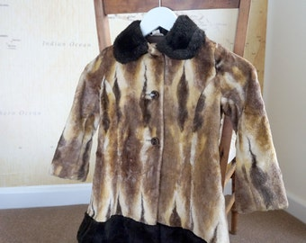 Faux Fur Coat, Girls 60s Faux Fur Swing Coat, Vintage 60s Swing Coat, Girls Clothing, Girls Coat, Childrens Clothing, Girls Vintage Jacket,