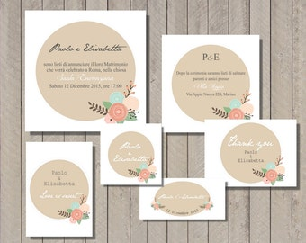 PDF, Printable Invitations cards with little flowers, unique save the dates invitations, wedding shower invitation