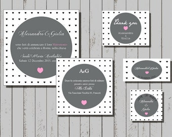 PDF Invitations cards printable with little hearts, graphic wedding suite, unique save the dates invitations, wedding shower invitation