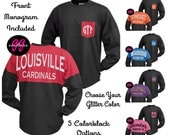 Custom Glitter Colorblock Spirit Jersey with Pocket Monogram - Choose Your Tee and Glitter Color