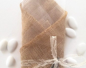 Burlap wedding favor/bomboniere with olive leaves