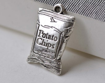 10 pcs Antique Silver Junk Food Bag Chips Pendants Charms 16x25mm A7853