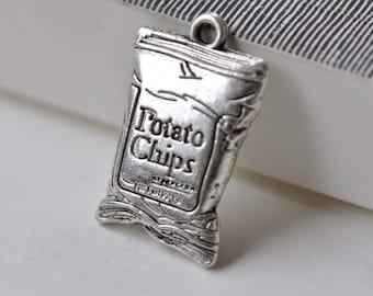 10 pcs Antique Silver Junk Food Bag Chips Pendants Charms 16x25m A7853