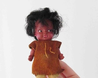 Eegee Small Doll Suede Outfit Native American Vintage Mini Doll 1960s