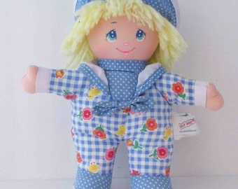Dolly Mine 1990s Little Plush Doll Toy Blue Gingham Floral Outfit Sailor Hat