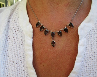 Smoky Quartz and Sterling Silver Necklace